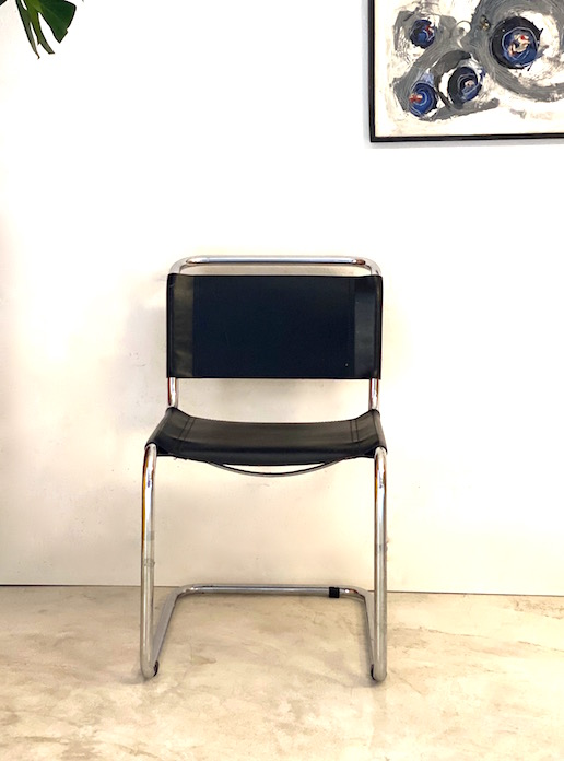 cadira pell i cromat I